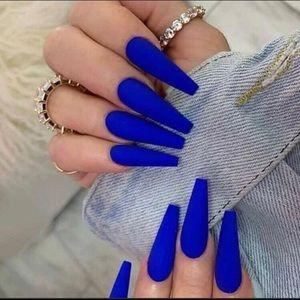🆕 Sexy Royal Blue Long Press On Nails